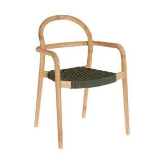 Design Stühle aus Eukalyptusholz und Kordel Geflecht Armlehnen (4er Set)