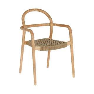 Designstühle aus Eukalyptusholz und Kordel Geflecht Armlehnen (4er Set)