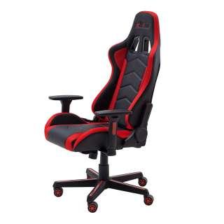 Gaming Schreibtischstuhl in Schwarz und Rot verstellbarer Rückenlehne