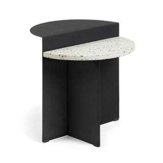 Designtisch in Schwarz und mehrfarbig Terazzo Platte