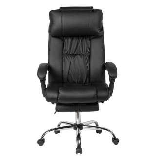 Schreibtischsessel in Schwarz Kunstleder hoher verstellbarer Lehne