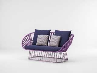 Kettal - Cala 2-Sitzer Sofa - manganese/ honeysuckle/ dry sand - outdoor
