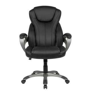 Bürodrehstuhl in Schwarz Kunstleder verstellbarer Rückenlehne