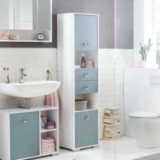 Badezimmer Hochschrank in Hellblau und Weiß modern