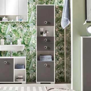 Badezimmerhochschrank in Dunkelgrau und Weiß Made in Germany
