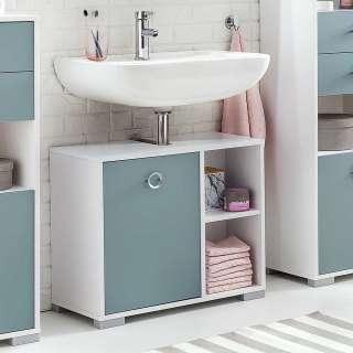 Waschbeckenunterschrank in Hellblau und Weiß 65 cm breit