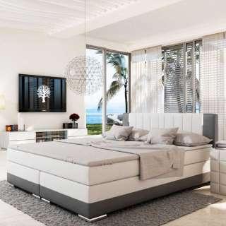 Amerikanisches Bett in Weiß und Dunkelgrau Kunstleder LED Beleuchtung