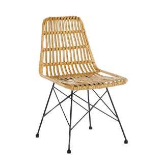 Kunstrattan Sessel in Beige Metallgestell (2er Set)