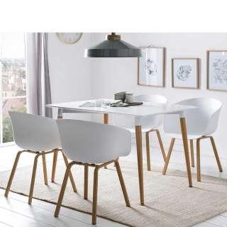 Skandi Design Essgruppe in Weiß und Eichefarben 120 cm Tisch (5-teilig)
