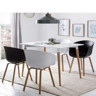 Esszimmer Sitzgruppe im Skandi Design Schwarz und Weiß (5-teilig)