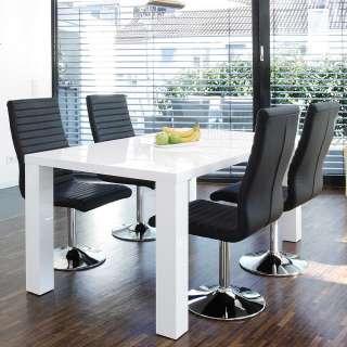 Moderne Essgruppe in Schwarz und Weiß Hochglanz drehbaren Stühlen (5-teilig)