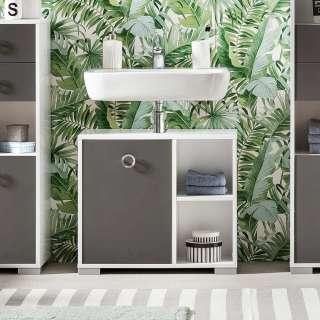 Waschbeckenunterschrank in Dunkelgrau und Weiß 65 cm breit