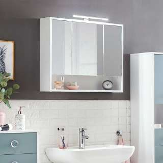 Badezimmerspiegelschrank in Weiß 70 cm breit