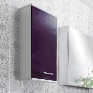 Badezimmer Oberschrank in Violett Weiß