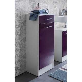 Bad Unterschrank in Violett und Weiß einer Schublade