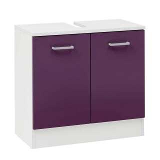 Waschbeckenschrank in Violett und Weiß 60 cm breit