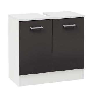 Waschtischunterschrank in Anthrazit und Weiß 2-türig