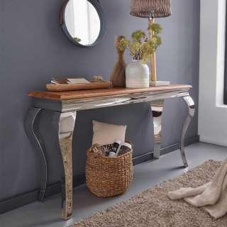 Konsolen Tisch aus Sheesham Massivholz Edelstahl in Silberfarben