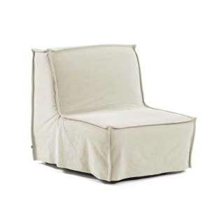 Schlafsessel in Weiß Webstoff 90 cm breit