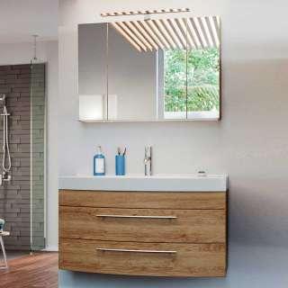 Badezimmermöbelset in Eiche hell LED Beleuchtung (2-teilig)