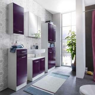 Design Badmöbel Set in Violett Weiß (5-teilig)