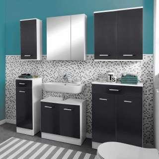 Waschplatz Set in Anthrazit Weiß (6-teilig)