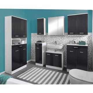 Badezimmermöbelset in Anthrazit Weiß (7-teilig)