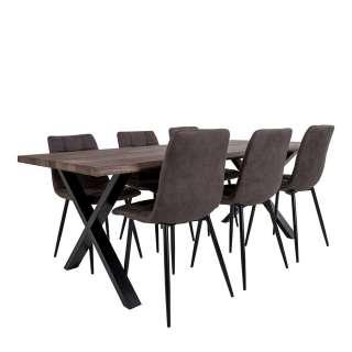 Esszimmer Sitzgruppe im Loft Design 200 cm Tisch (7-teilig)