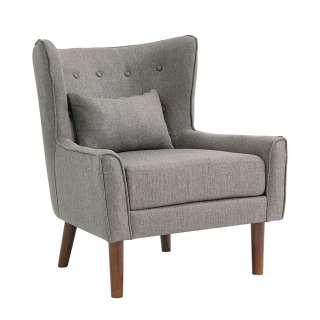 Wohnzimmer Sessel in Dunkelgrau Webstoff Ohren