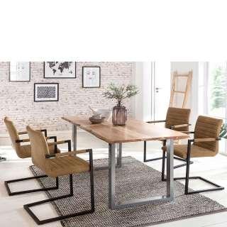 Esszimmer Sitzgruppe mit Akazie Baumkantentisch Freischwingern in Braun (5-teilig)