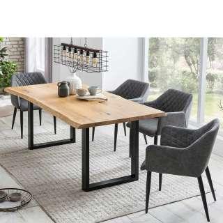 Essgruppe mit Baumkantentisch Armlehnenstühlen in Grau
