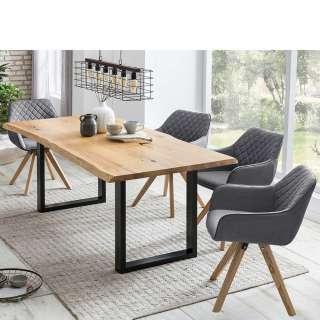 Esszimmergruppe mit Baumkanten Tisch Polsterstühlen in Grau (5-teilig)
