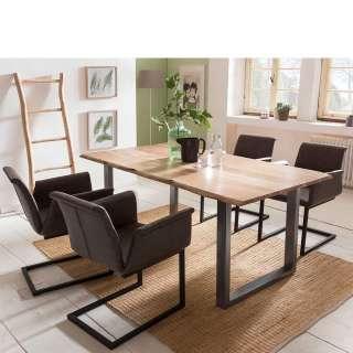 Baumkanten Sitzgruppe aus Akazie Massivholz Dunkelbraun Kunstleder (5-teilig)