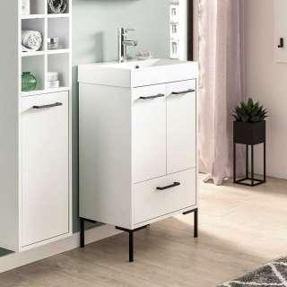 Waschschrank in Weiß und Schwarz 50 cm breit