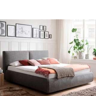 Gepolstertes Bett in Anthrazit Webstoff Bettkasten