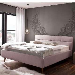 Modernes Bett in Altrosa Webstoff Bettkasten