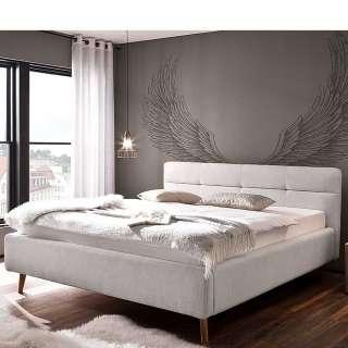 Stauraum Bett in Hellgrau Webstoff modern