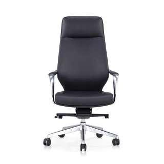 Bürodrehstuhl in Schwarz und Chromfarben hoher Lehne