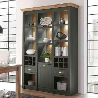 Regal in Graugrün und Wildeiche Optik Landhaus Design