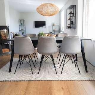 Esszimmereinrichtung in Grau und Schwarz ausziehbarem Tisch (7-teilig)