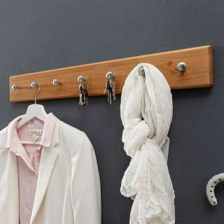 Garderobenhakenleiste aus Kiefer Massivholz 70 cm breit