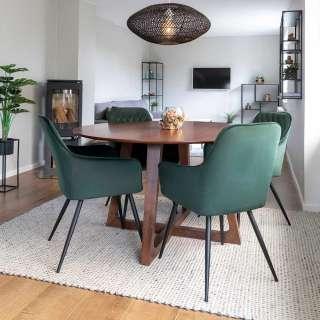Esszimmergarnitur mit rundem Tisch in Walnussfarben Stühlen in Dunkelgrün (5-teilig)