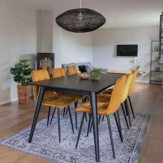 Design Essgruppe mit schwarzem Tisch Samt Stühlen in Gelb (7-teilig)