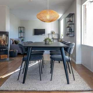 Sitzgarnitur in Schwarz und Grau ausziehbarem Tisch (7-teilig)