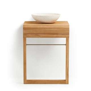 Waschtischschrank aus Teak Massivholz Aufsatz-Waschbecken