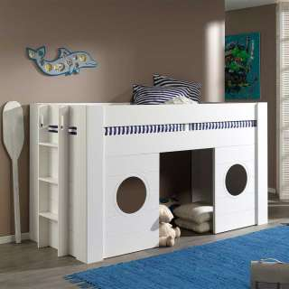 Kinder Einzelbett in Weiß 120 cm hoch