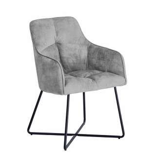 Esstisch Stühle in Grau Velours Armlehnen (2er Set)