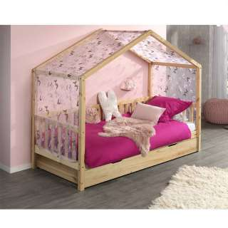 Haus Kinder Einzelbett aus Kiefer Massivholz Vorhang