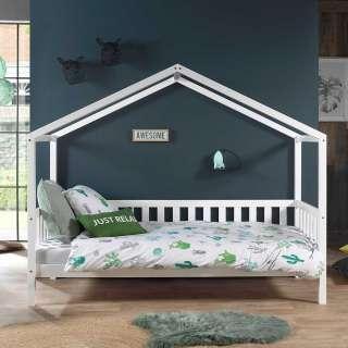 Kinderzimmerbett in Weiß Kiefer massiv Haus Optik