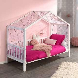 Kiefer Kinderbett in Haus Optik Vorhang
